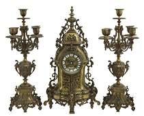 Three Piece Louis XV Style Bronze Clock Set late 19th
