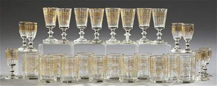 Group of Twenty-Seven Gilt Decorated Glasses, early