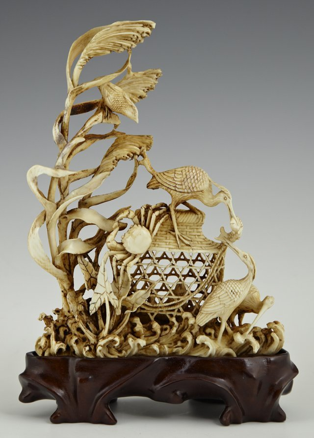 Unusual Oriental Carved Ivory Figural Group, early 20th