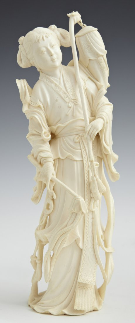 Chinese Carved Ivory Figure, early 20th c., of a woman