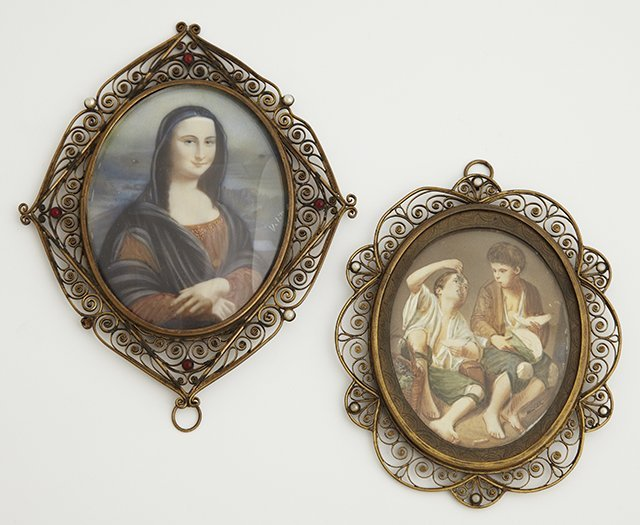 Two Miniatures on Ivory, 19th c., one after Murillo, of