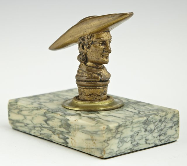 Bronze Figural Paperweight, 19th c., of a cleric, on a