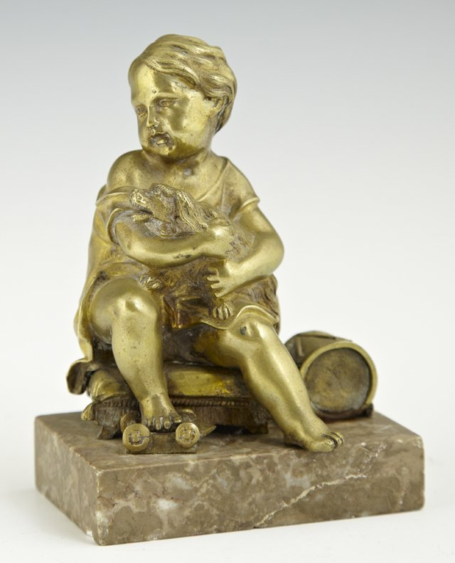 French Cabinet Bronze of a Child with Her Dog and Toys,