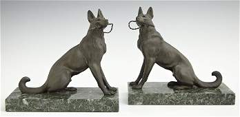 Pair of Patinated Spelter Bookends, early 20th c., of