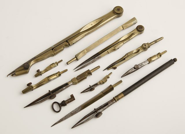Brass Drafting Set, c. 1900, in a fitted mahogany box,