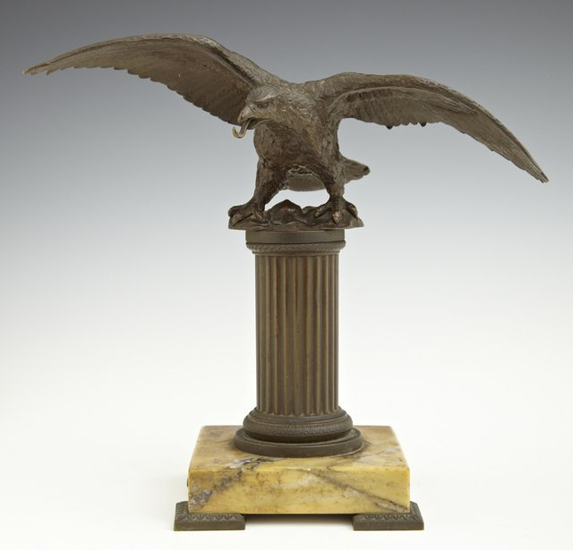 French Bronze Eagle Form Pocket Watch Stand,, late 19th