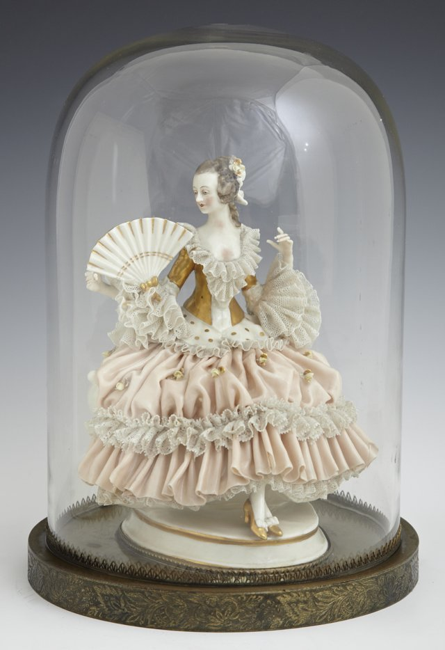 German Porcelain Lace Figure, early 20th c., presented