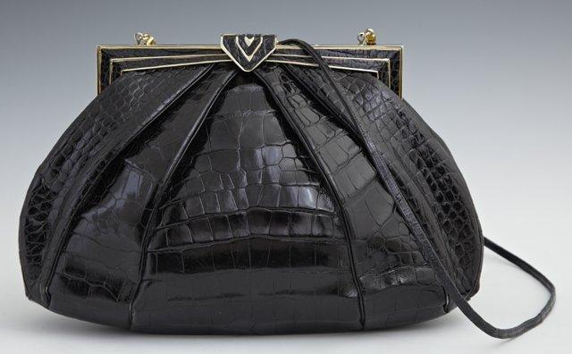 Vintage Judith Leiber Black Alligator Purse, with a