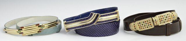 Group of Three Vintage Judith Leiber Leather Belts,
