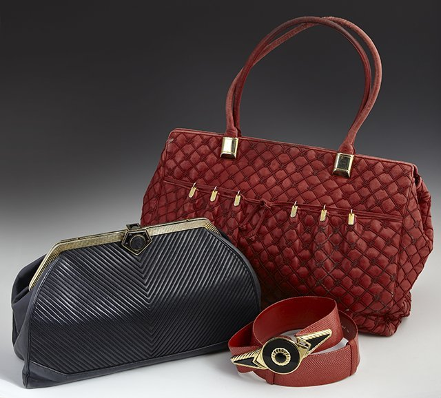 Three Pieces, consisting of a vintage red snake skin