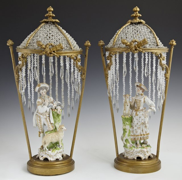 Pair of Unusual Gilt Brass and Crystal Table Lamps, c.