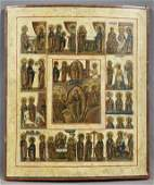 Large Russian Icon 19th c of the Resurrection with
