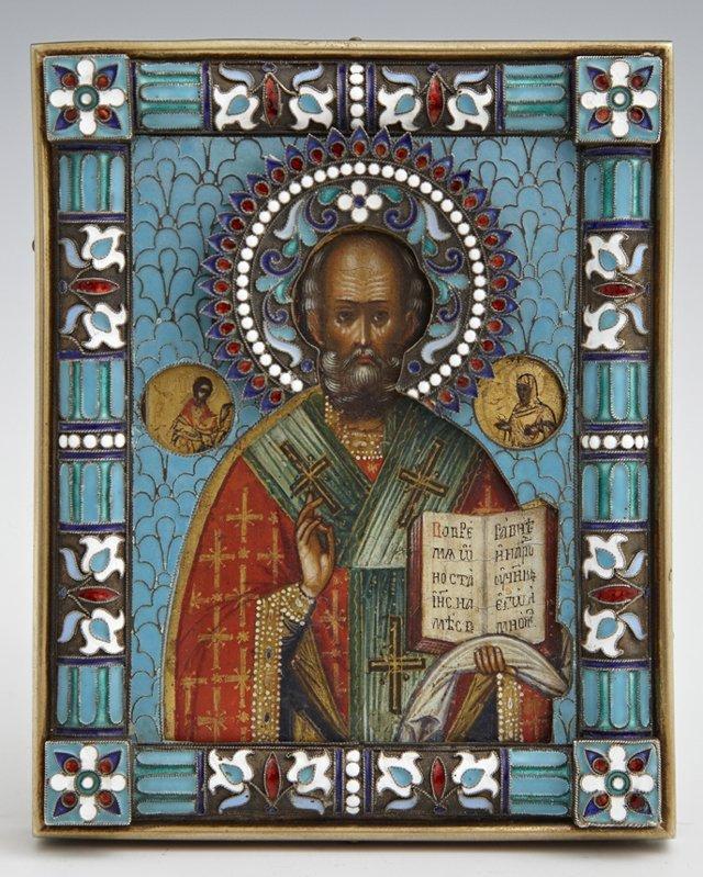 Diminutivel Russian Icon of St. Nicholas, 19th c.,