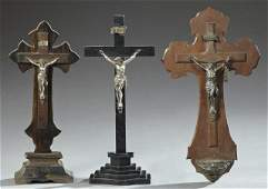 Group of Three Crucifixes, 19th c., two tabletop