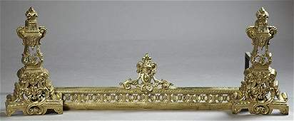 Three Piece Louis XV Style Bronze Chenet Set early