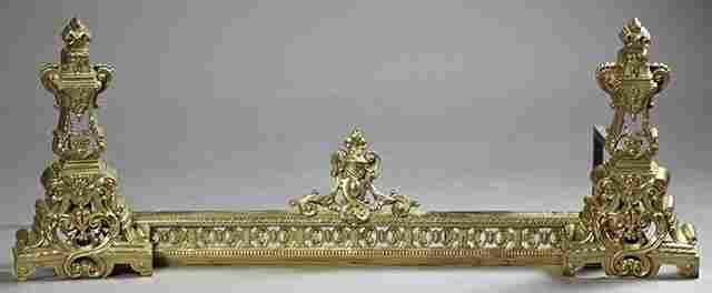 Three Piece Louis XV Style Bronze Chenet Set, early