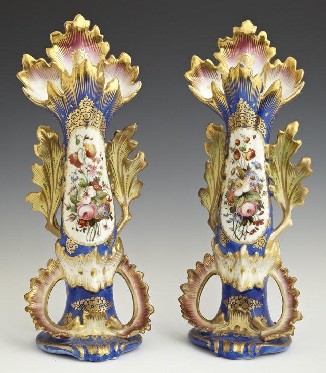 Pair of Old Paris Porcelain Flare Vases, 19th c., in