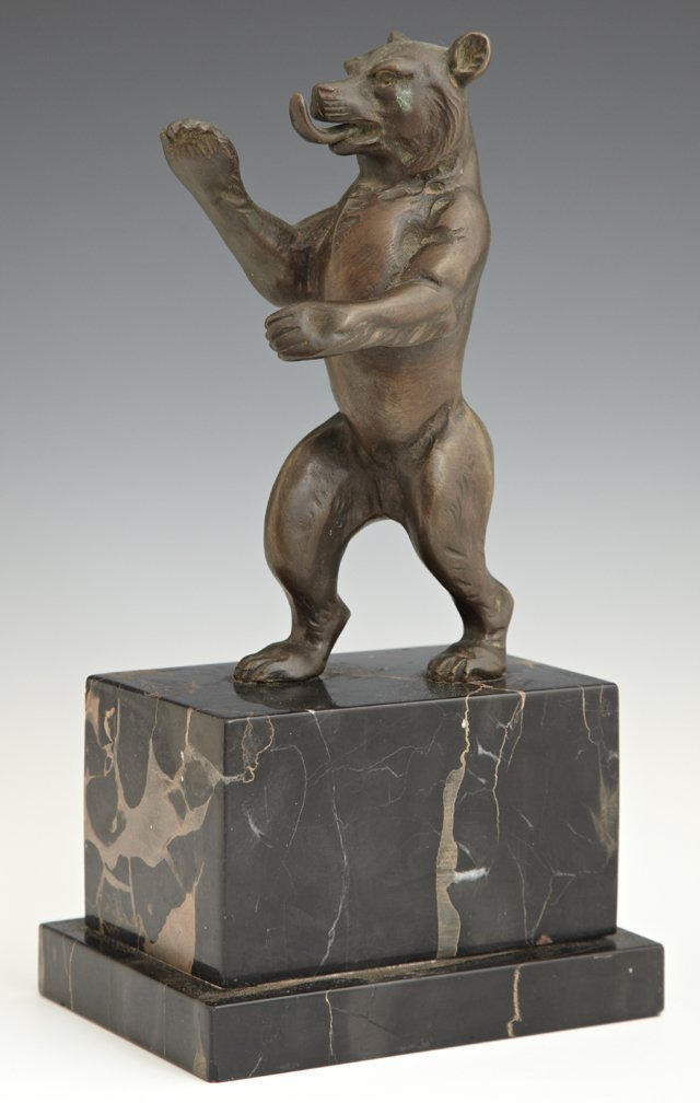 Bronze Figure of a Standing Bear, 20th c., on a stepped
