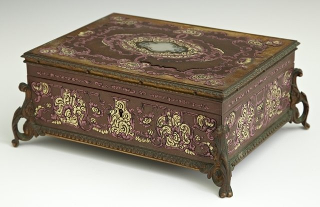 Unusual Brass Clad Mahogany Jewelry Box, 19th c., the