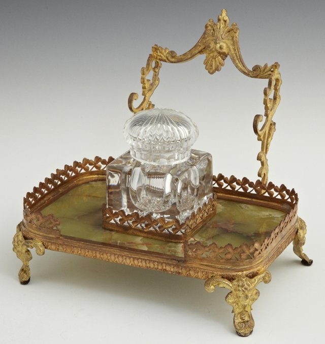 Bronze and Green Onyx Inkstand-Pentray, late 19th c.,