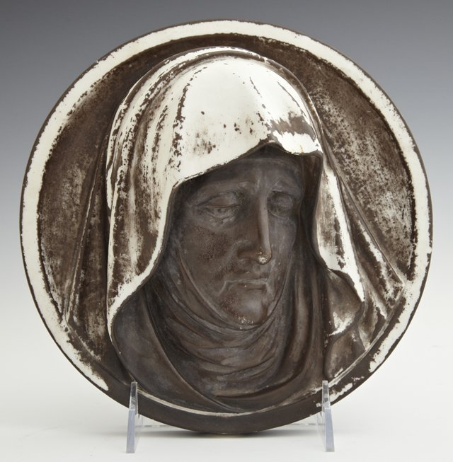 Circular Porcelain Plaque, 19th c., of the Madonna of