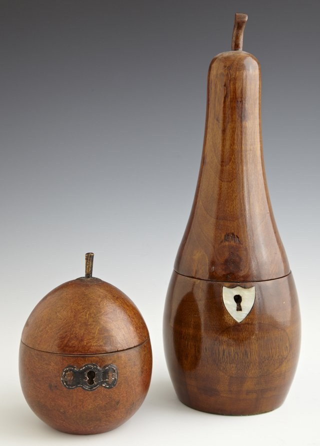 Two English Carved Wooden Tea Caddies, early 20th c.,