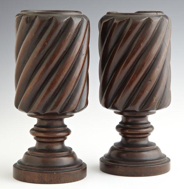 Pair of English Carved Mahogany Twist Carved Circular