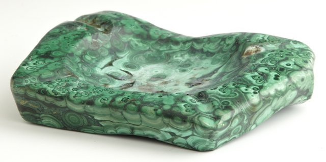 Malachite Ashtray, 20th c., carved from a large single
