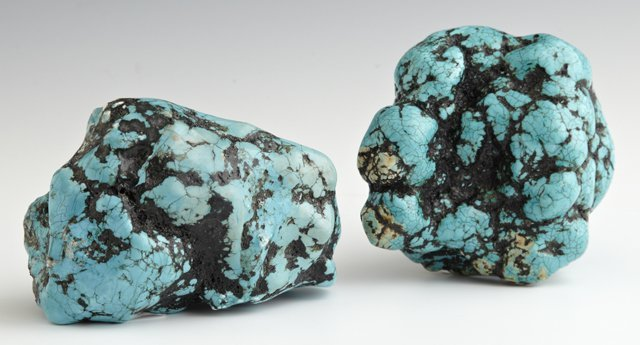 Pair of Large Turquoise Nuggets, Tallest- H.- 3 1/2