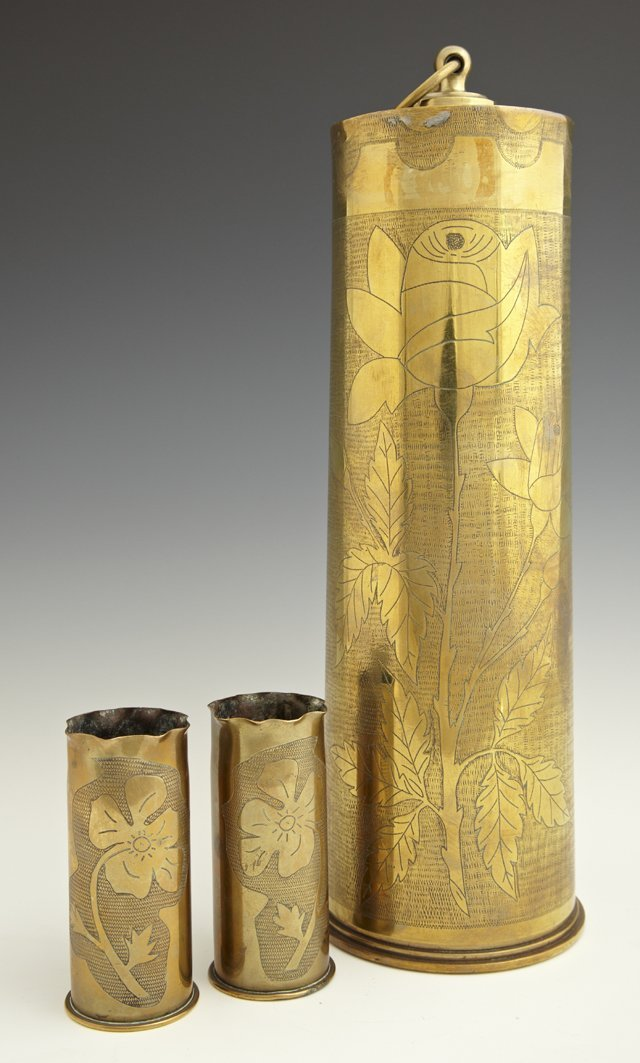 Three Brass Trench Art Pieces, c. 1918, consisting of a