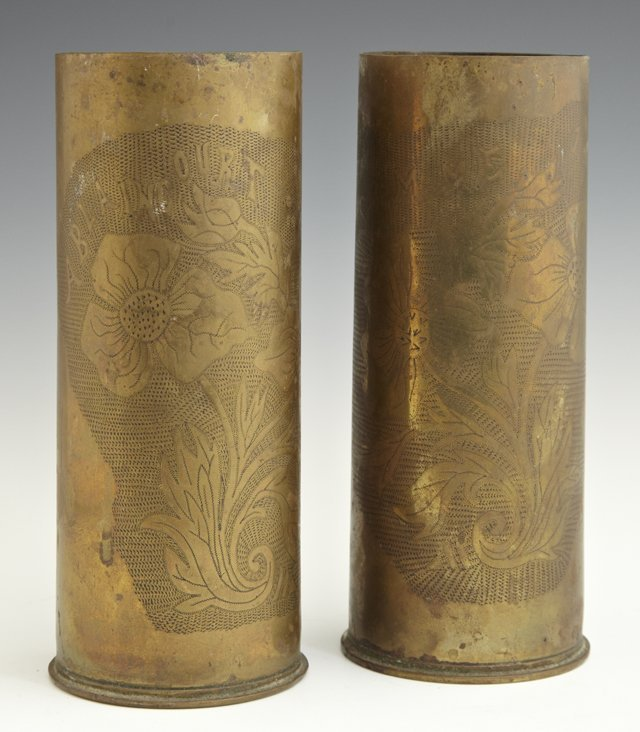 Pair of Brass Trench Art Vases, c. 1918, with engraved