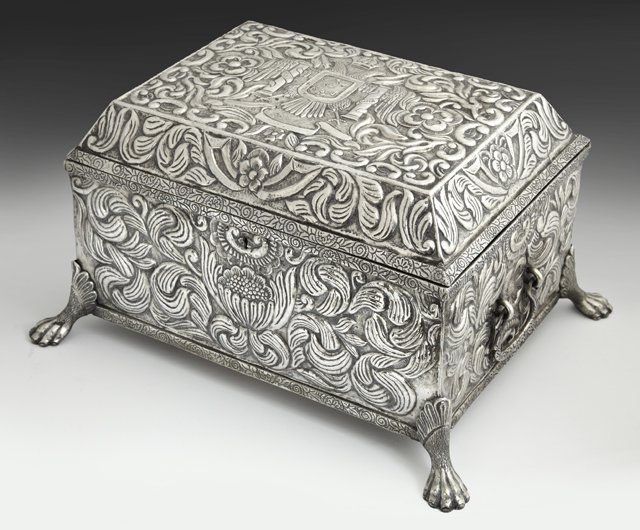 Unusual Large Peruvian Silver Box, 19th c., with