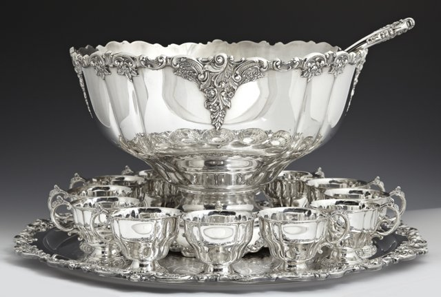 Silver Plated Punch Bowl Set, 20th c., by Wallace, in