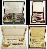 Group of Four Boxes of Silver Plated Flatware 19th c