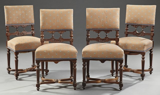 Set of Four Henri II Style Upholstered Carved Rosewood