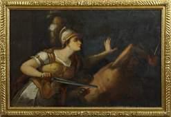 "Continental School, ""Classical Battle Scene of a Woman"