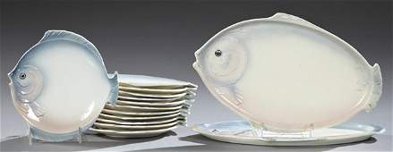 Czechoslovakian Fourteen Piece Ceramic Fish Set 20th