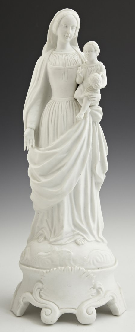 Parian Figure of Madonna and Child, 19th c., on a