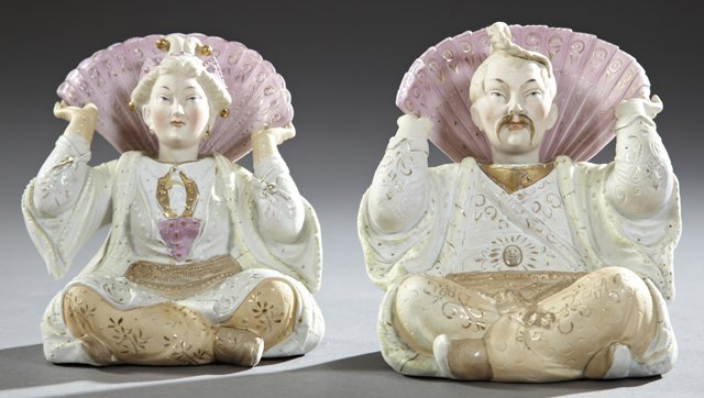 Pair of Polychromed Bisque Oriental Nodders, 19th c.,
