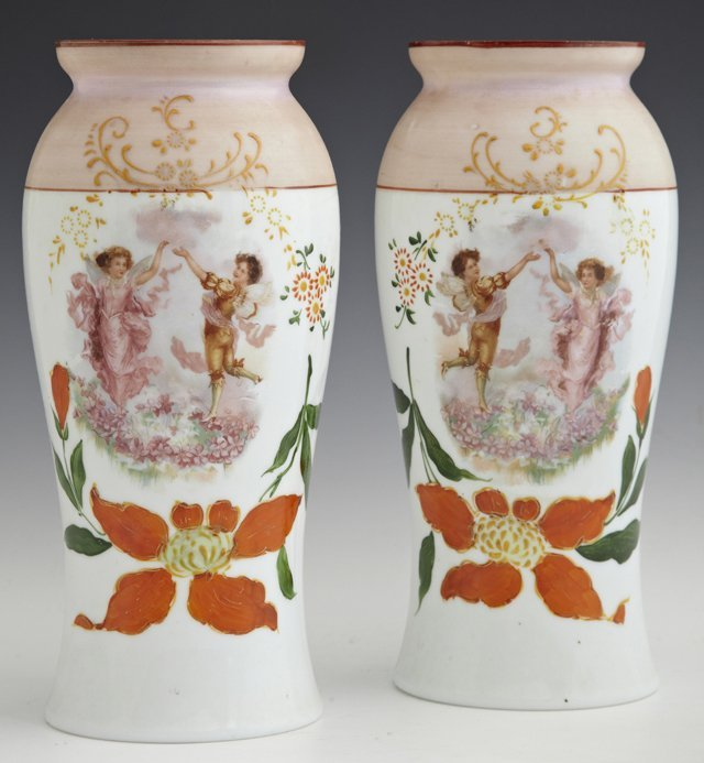 "Pair of Bohemian Polychromed White Opal or ""Bristol"""