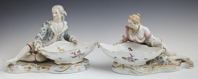 Pair of German Polychromed Porcelain Figural Sweetmeats