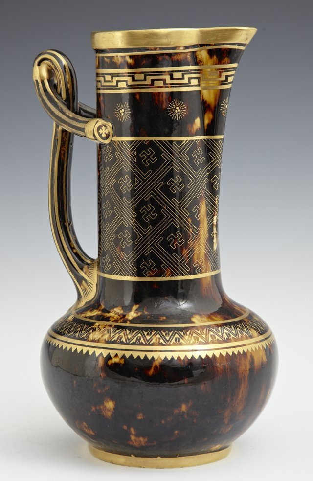 """Minton's Glazed Ewer, 19th c., with gilt and """"tortoise"""