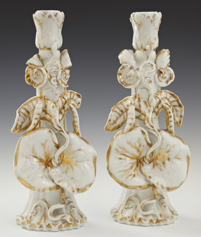 Pair of Old Paris Porcelain Candlesticks, 19th c., with