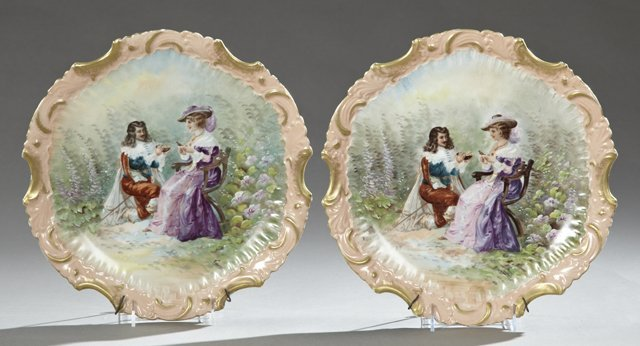 Pair of Hand Painted Porcelain Chargers, c. 1890, with