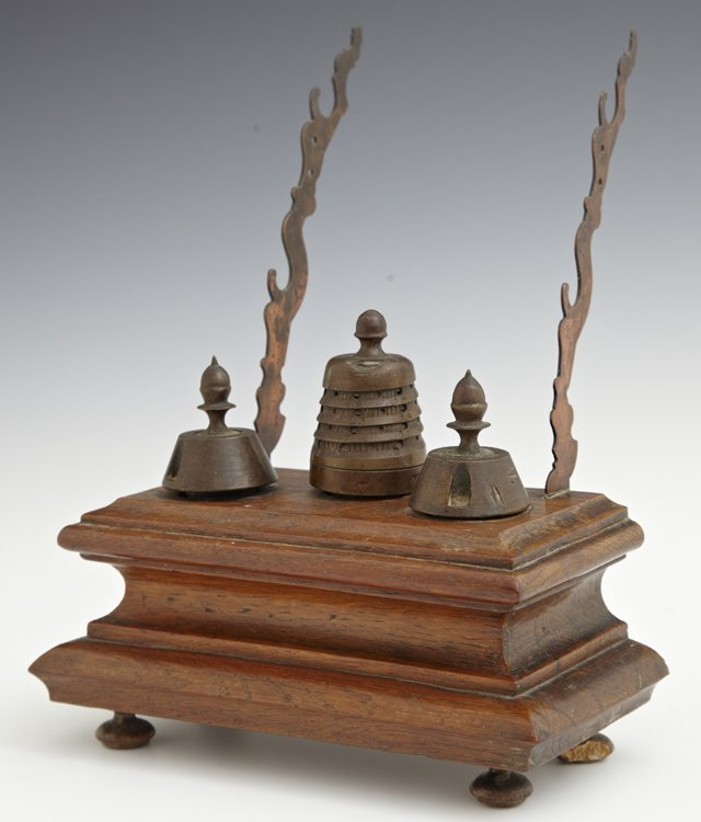 Unusual Bronze and Oak Inkwell Pentray, 19th c., the
