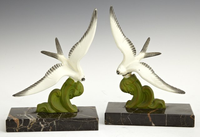 Pair of Polychromed Spelter Seagull Bookends, early