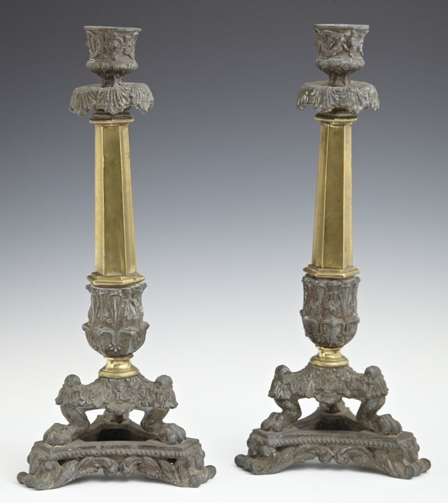 Pair of Patinated Spelter and Brass Candlesticks, c.