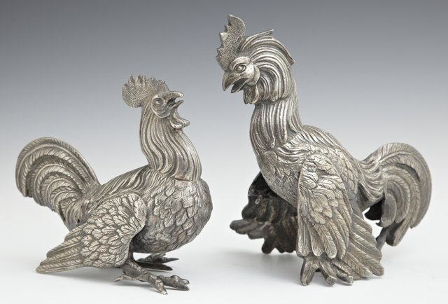 Pair of Silverplated Rooster Table Decorations, 20th