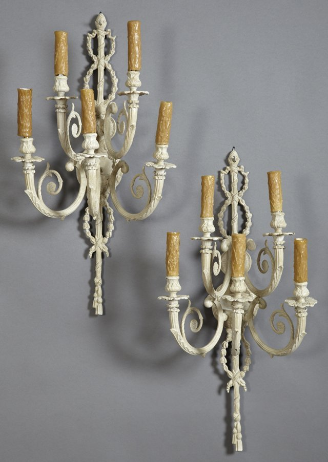 Pair of Brass Louis XV Style Five Light Wall Sconces,