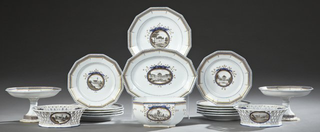 Eighteen Piece Partial Set of Nymphenburg Porcelain